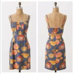 Anthropologie Maeve Silk Floral Open Back Dress 12